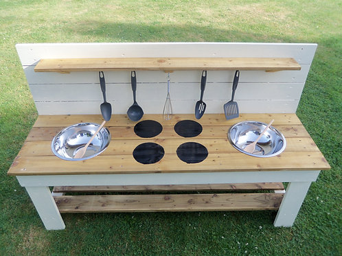 Painted Mud Kitchen - 2 Bowls & hobs (140cm)