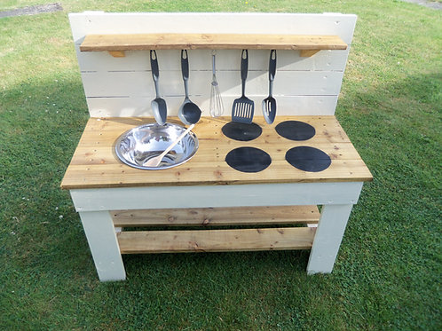 Painted Mud Kitchen - 1 Bowl & Hobs (95cm)