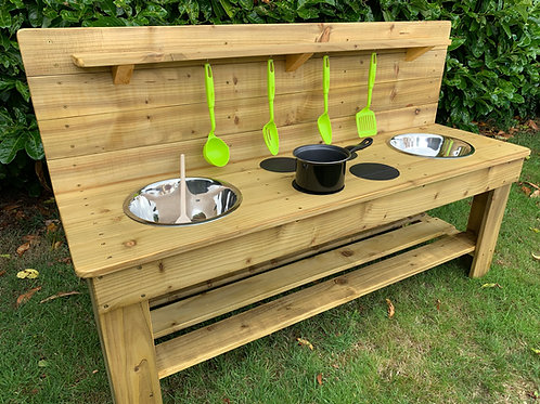 Treated Mud Kitchen - 2 Bowls & Hobs (140cm)