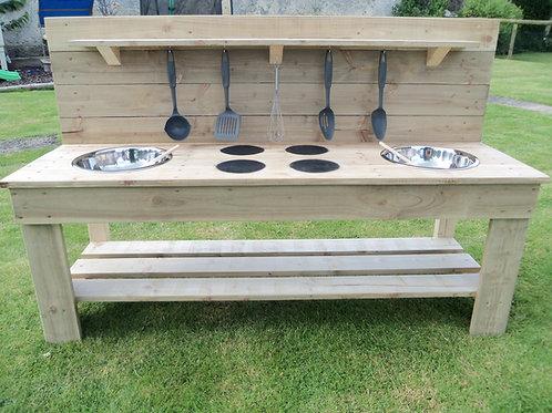 Untreated Mud Kitchen - 2 Bowls & Hobs (140cm)