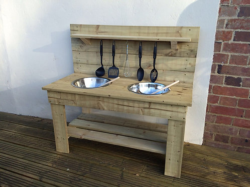 Treated Mud Kitchen - 2 Bowls (95cm)