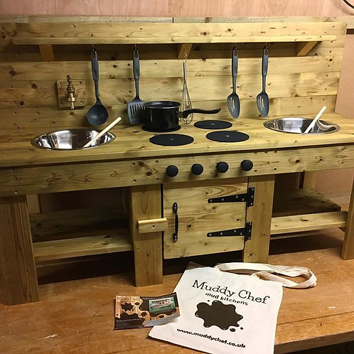 Custom Mud Kitchen with Cupboard, Tap, Wooden Hobs, Cooker Knobs