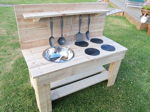 Untreated Mud Kitchen - 1 Bowl & Hobs (95cm)