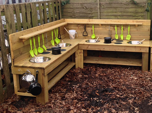1.7m x 1.8m Custom-Made Treated Corner Mud Kitchen