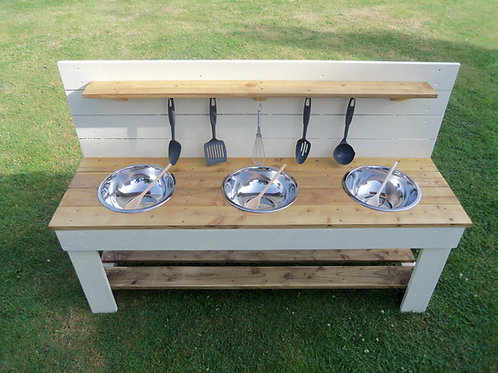 Painted Mud Kitchen - 3 Bowls (140cm)