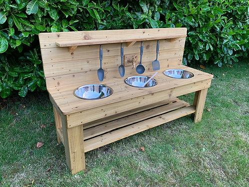 Treated Mud Kitchen - 3 Bowls (140cm)
