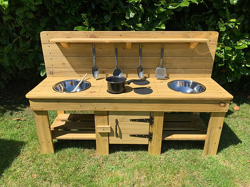 Custom-Made Mud Kitchen with Cupboard, 2 bowls and hobs