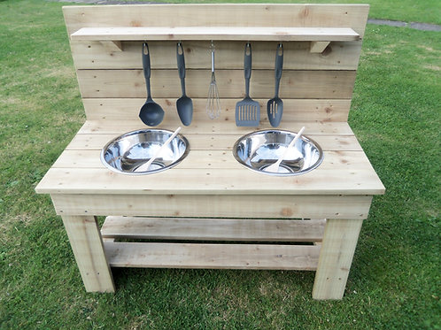Untreated Mud Kitchen- 2 Bowls (95cm)