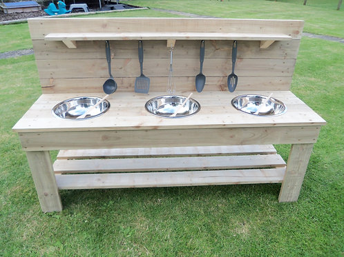 Untreated Mud Kitchen - 3 Bowls (140cm)