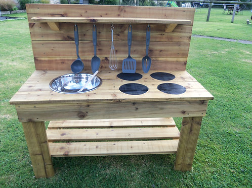 Treated Mud Kitchen - 1 Bowl & Hobs (95cm)