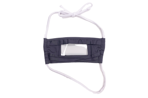 Reusable Clear Window Mask (Neck Loop Head Tie) with Anti-fog Strip