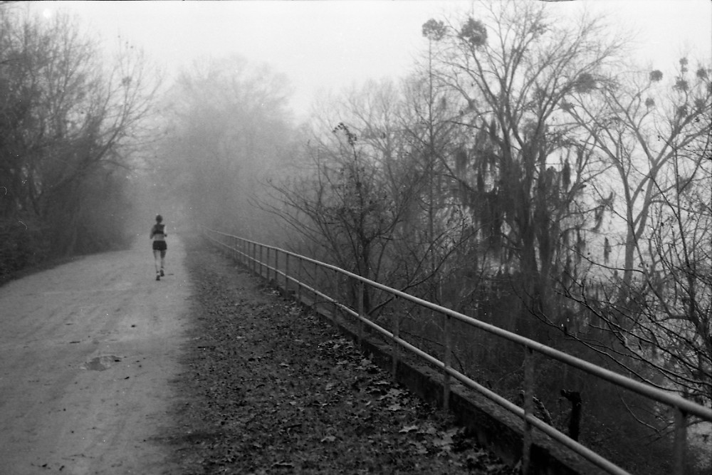 A lone jogger between the Savannah River and Augusta Canal