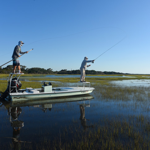 Fly fishing for redfish along the North Carolina coast