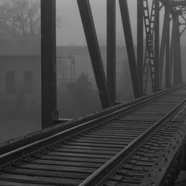 Railroad tressel and fog