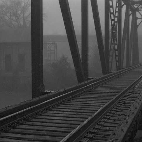 Railroad tressel and fog