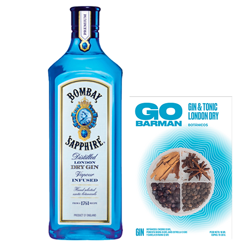 Pack: Gin Bombay LITRO + Botánico Go Barman Gin & Tonic