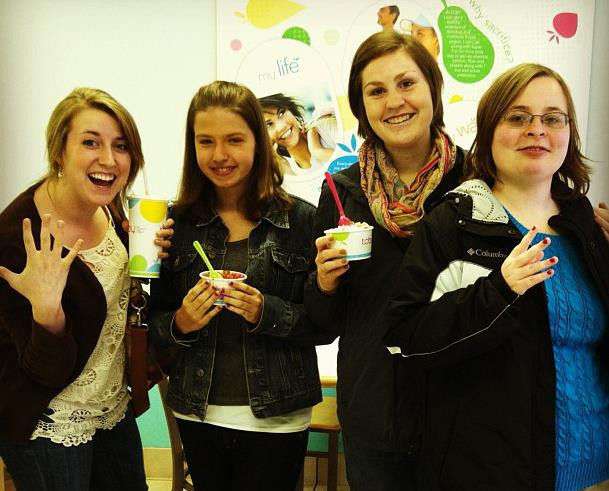 Friends at ice cream shop
