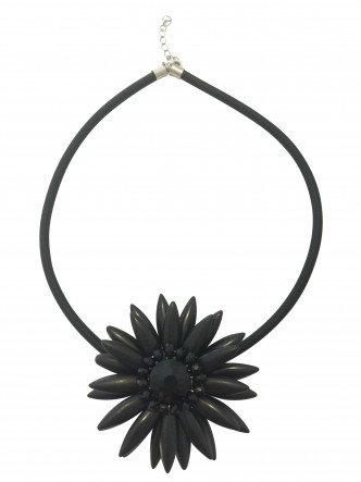 Flower Necklace Black