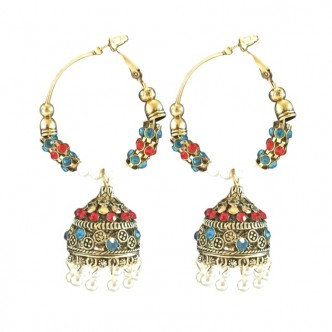 Palace Earrings Red/Teal