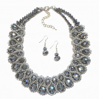 Emperor Necklace Set Silver/Pewter
