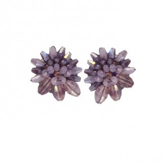 Bead Cluster Earring Purple