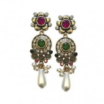Royal Earrings Green/Fuschia