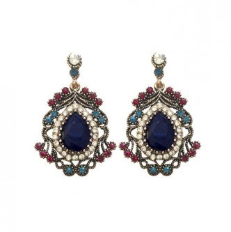 Diana Earrings Navy/Red
