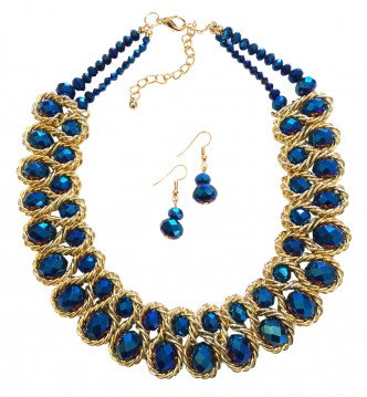 Emperor Necklace Set Gold/Blue