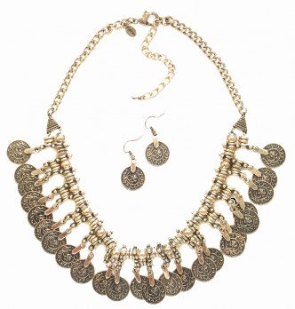 Coin Necklace Set Gold