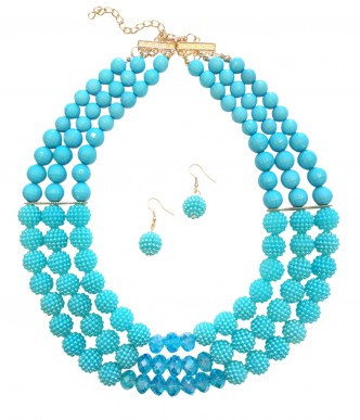 Poppy Necklace Set Aqua