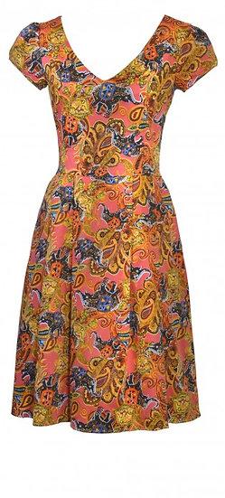 Nellie Pleat Dress Orange