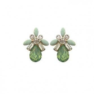 Teardrop Cluster Earring Green