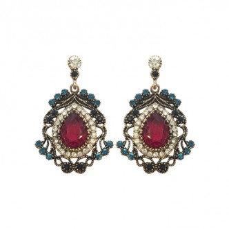 Diana Earrings Fuschia/Teal