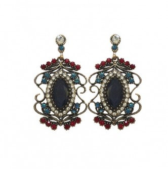 Grace Earrings Navy/Red