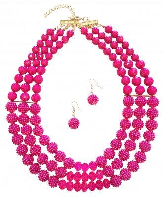 Poppy Necklace Set Fuschia