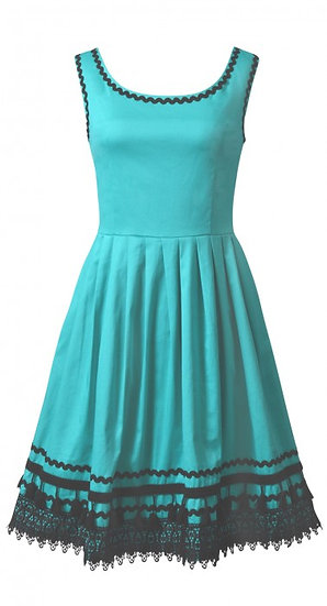 Ramona Braid Dress Aqua