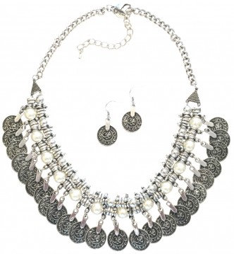 Coin Necklace Set Silver