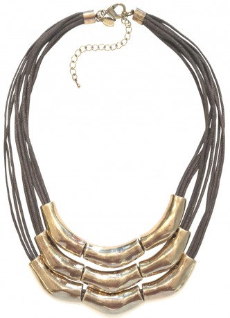 Trifecta Necklace Brown/Gold