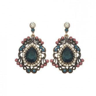 Diana Earrings Green/Pink