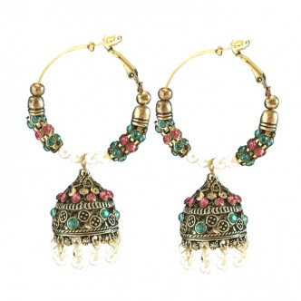Palace Earrings Pink/Teal