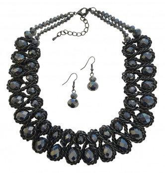 Emperor Necklace Set Black/Pewter