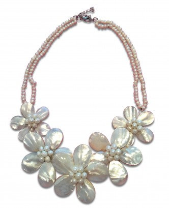 Multi Flower Necklace White