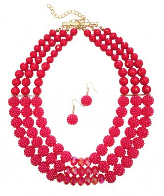 Poppy Necklace Set Red