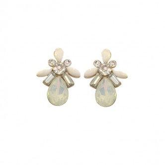 Teardrop Cluster Earring White