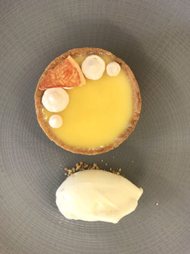 Pink Grapefruit Tart with Stem Ginger Ice Cream
