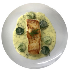 Halibut with a Cucumber Beurre Blanc