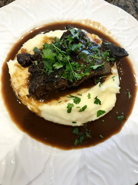 Slow Cooked Ox Cheeks in Red Wine with Pomme Puree