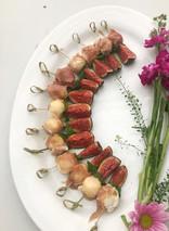 Mozzarella, Prosciutto, Mint and Fig Skewers