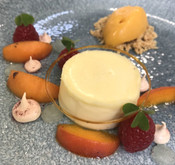 Roasted Almond Panna Cotta with Lemon Gel, Macerated Apricots and Apricot Sorbet