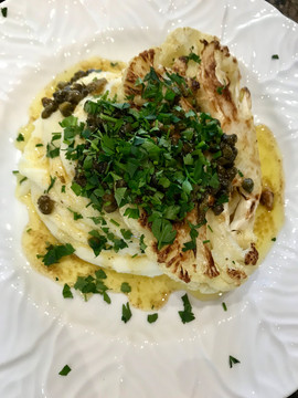Cauliflower Steak with Pomme Puree and a Caper, Parsley and Lemon Sauce